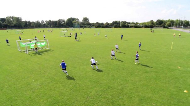 Fußballübung Doppelfeld | Torschuß spielerisch trainieren