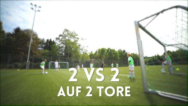 Fussballtraining: 2 vs 2 auf 2 Tore
